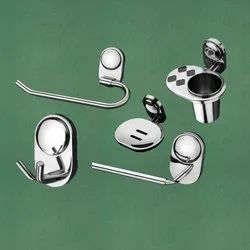Stainless Steel Silver 5 Pieces Bathroom Set