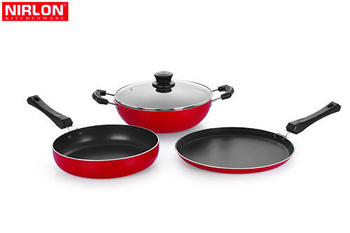 Nirlon Non Stick Aluminium Cookware Set With Glass Lid At Rs 706