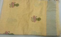 Festive Wear Embroidered Linen Silk Saree, 6 m (with blouse piece), Machine Made