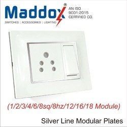 Square Modular Wall Plates With Silver Line