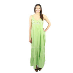 Ladies Green Long Dress