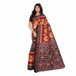 Maroon Colored Bhagalpuri Silk Casual Saree