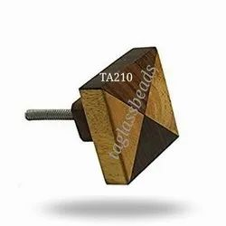Square Poly Wooden And Wooden Joint Door Knobs