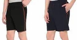 Black Printed NS Lycra Mens Sports Shorts