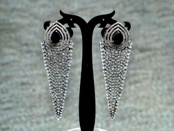 Kumar Jewels Black Long Antique Victorian Cocktail Party Wear Crystal CZ Danglers