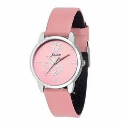 Jainx Pink Round Dial With Hearts Printed Analogue Watch For Women & Girls JW547