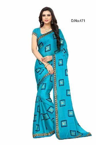 6d54302cd2b8ab Jaanvi fashion Womens Marble Chiffon Printed Saree with Lace South Asian  sapna-1008-peach