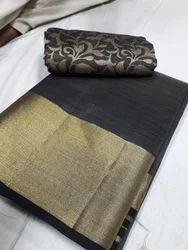 Plain Tussar Silk Saree with Blouse Piece
