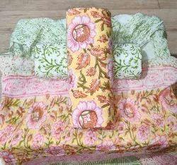 New Beautiful Designer Collection Bagru Hand Block Printed Cotton Suit Set With Shiffon Dupatta