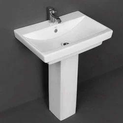 White Ceramic Pedestal Wash Basin, Shape: Rectangular