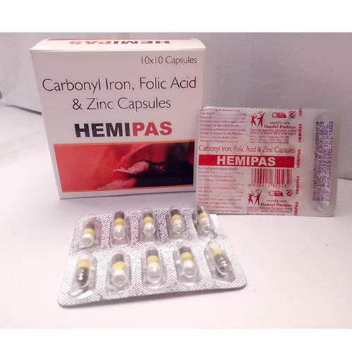 Hemipas Carbonyl Iron Folic Acid and Zinc Capsules, Packaging Type: Box, Packaging Size: 10 x 10 Capsules
