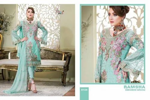 4f5a496762 Shree Fab Ramsha Embroidered Collection Series 8121-8127 Georgette Suit