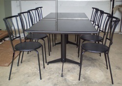 Remtech Standard Height Restaurant Dining Table And Chair, For Hotel, Shape: Rectangular