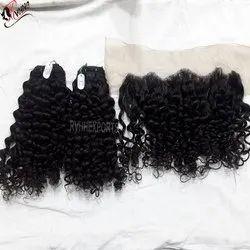 Indian Frontal Curly Bundle Human Hair
