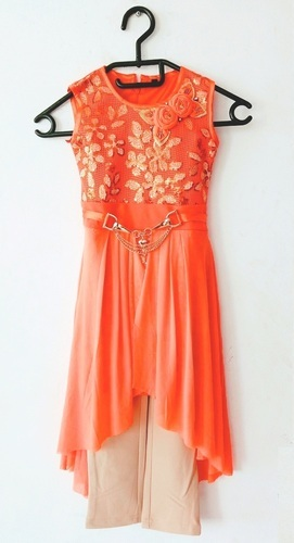 d71429f61 Party Wear Girls Kids Orange Dress For Age 4 To 15 Years