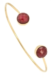 Round 925 Sterling Silver Two Gemstones Handmade Gorgeous Style Simple Wear Gold Plated Jewelry