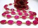 Natural Hot Pink Chalcedony Free Shape Briolette Faceted Connector Chain 15x20mm