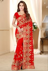 Hot Red Embroidered Georgette Saree
