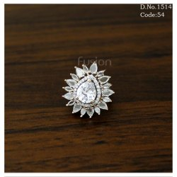 American Diamond Finger Ring with CZ Stones