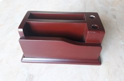 Wooden Table Top Pen Holder