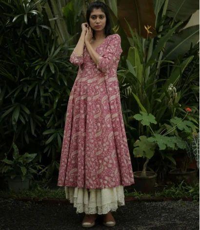 9a3f44a153e Berry Pink Floral Printed Cotton Anarkali Kurta. mark as favourite