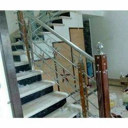 Steel Railing Work Jindal Pipe And Wood Finish Railing