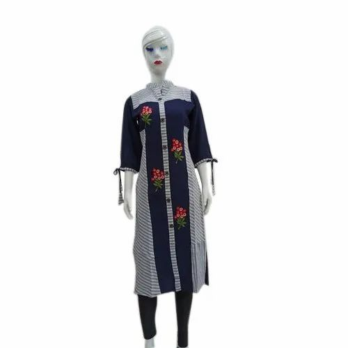 Straight 3/4th Sleeve Ladies Band Collar Long Kurti, Machine wash, Size: S-XXL