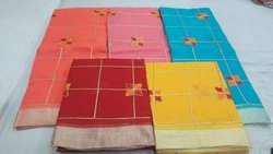 Wedding Wear Kota Doria Embroidery Sarees With Blouse