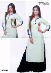 Manjari A Fashion Hub Light Grey Khadi Kurti With Embroidery, Size: Large