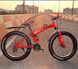Red Land Rover Fat Tyer Foldable Cycle