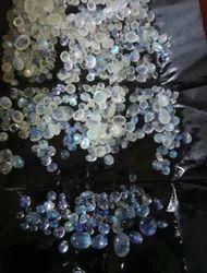 Natrual Stone White Rainbow Gemstone, For Jewellary