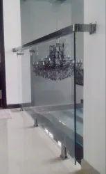 Silver Panel Designer Glass Railings, For Office, Mounting Type: Floor