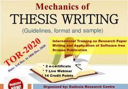 International Training Program On Paraphrasing, Thesis Writing, Plagiarism Checking, Spss, R, Python