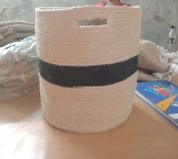Beige And Black Cotton Dori Basket