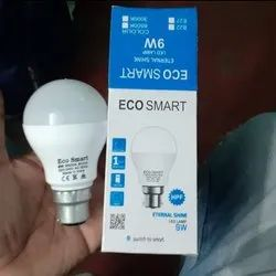 Plastic Round 9 Waat Eco Smart, For Home, Base Type: B22