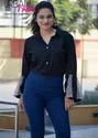 Plain Formal Nine2five Rayon Cotton Black Shirt With Full Flared Sleeves