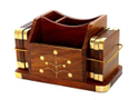 Wooden Office Set Desk Organizer Corporate Gift Tea Coaster Mobile Stand Pen Holder Card Holder