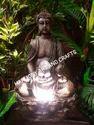Polystone Fiber Brown Lotus Buddha Fountain, 5 Kg