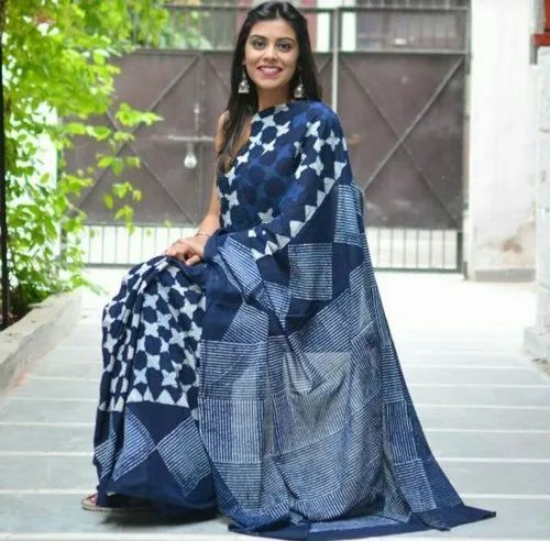 Indigo Printed Cotton Saree With Blouse