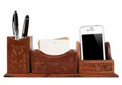 Sharma Handicrafts Brown Wooden Desk Organizer With Mobile Stand Full Carving Design, Size: 10x2.5x3.5 Inch