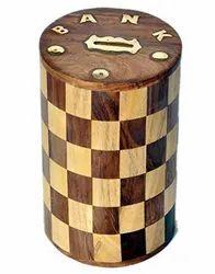 Brown Wooden Money Bank Coin Box Piggy Bank Round Chess Design, Size/Dimension: 6x4 Inch