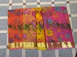 Flower Printed Cotton Saree