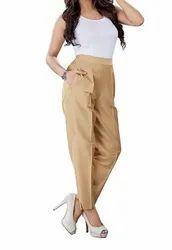 French Lime Plain Ladies Beige Cotton Silk Ethnic Pencil Pant