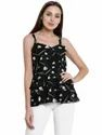 Casual Wear Black And White Georgette Ladies Top, Size: S - Xxl