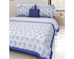 Blue Designer Double Bed Sheet