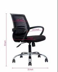Fabric Mesh Back Bingo Revolving Chair, Size: 22 Inches, Black