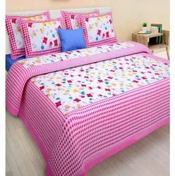 Pink Cotton Printed Double Bed Sheet