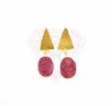 Druzy Gemstone Stud Earring With Gold Plated And Lemon And Red Colour