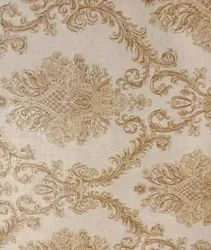 Royal Pattern Pvc White And Golden Wallpaper Jewellery Type, For Home, Size: 21inch*33feet