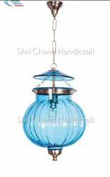 Shri Chand Handicraft Goan Glass Melon Handi Lantern Hanging Light For Home Decoration.